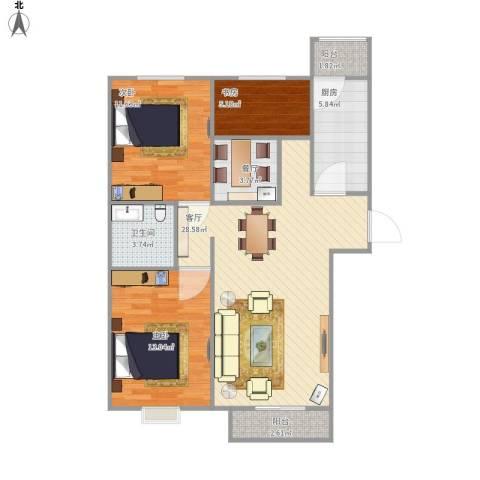 曙光楼3室2厅1卫1厨103.00㎡户型图