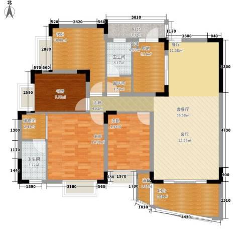 中兴渝景苑4室1厅2卫1厨124.00㎡户型图