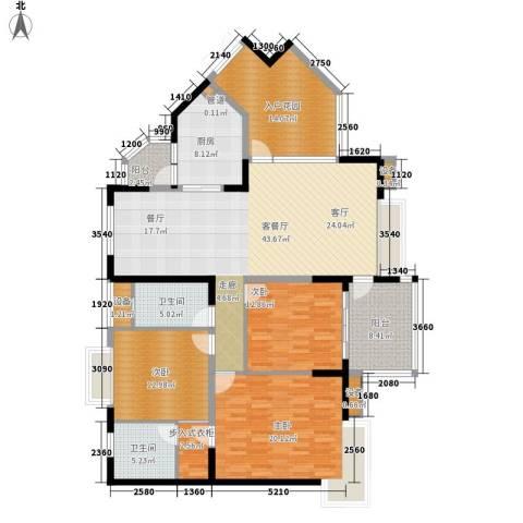 中兴渝景苑3室1厅2卫1厨137.80㎡户型图