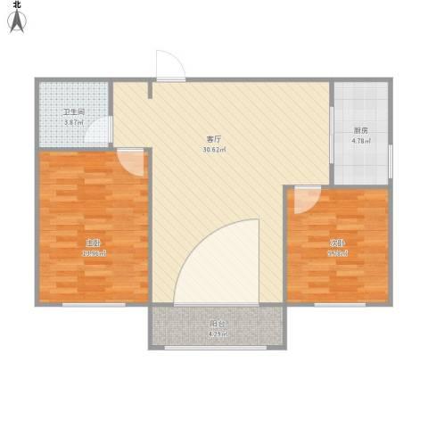 西吴御龙庭2室1厅1卫1厨90.00㎡户型图