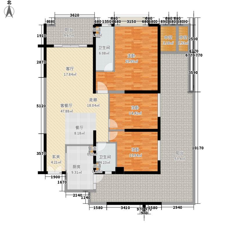 富力公馆253.31㎡5单元2号户型3室2厅2卫1厨