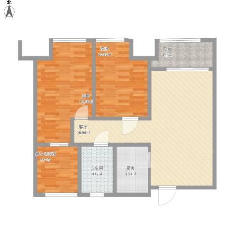 兰陵锦轩2室1厅1卫1厨101.00㎡户型图