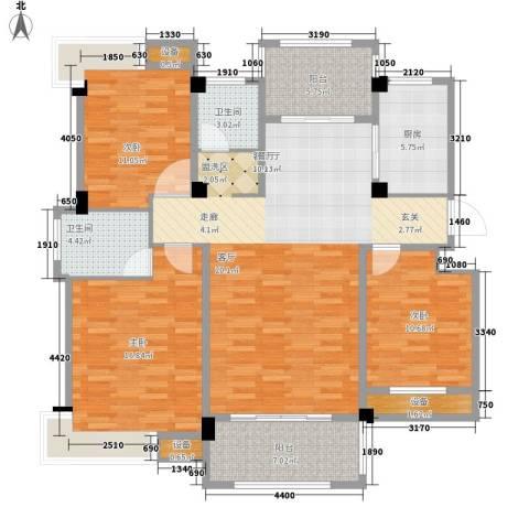 香山听泉3室1厅2卫1厨120.00㎡户型图
