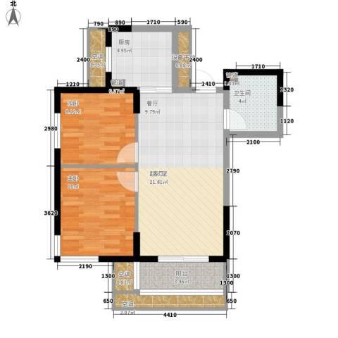 UP青年公社2室0厅1卫1厨77.00㎡户型图