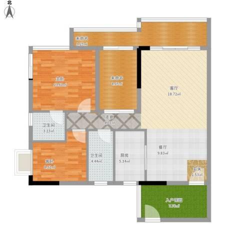鼎湖森邻3期2室1厅2卫1厨134.00㎡户型图