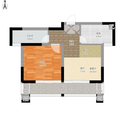 梦里水乡花园1室1厅1卫1厨62.00㎡户型图