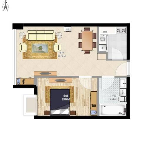 昆仑中心1室1厅1卫1厨75.00㎡户型图