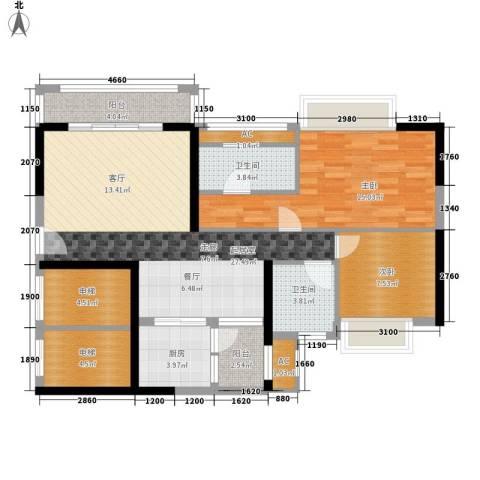 清远奥园2室0厅2卫1厨93.00㎡户型图