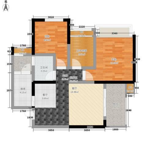 金辉融侨半岛云满庭D区2室0厅1卫1厨90.00㎡户型图