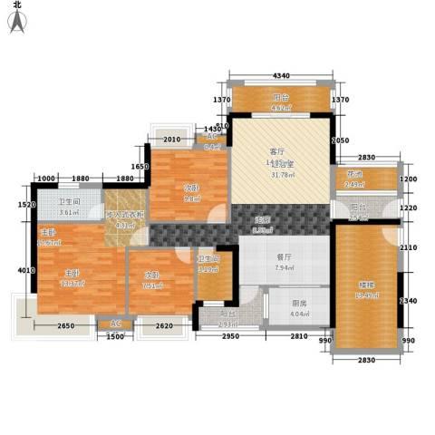 清远奥园3室0厅2卫1厨120.00㎡户型图