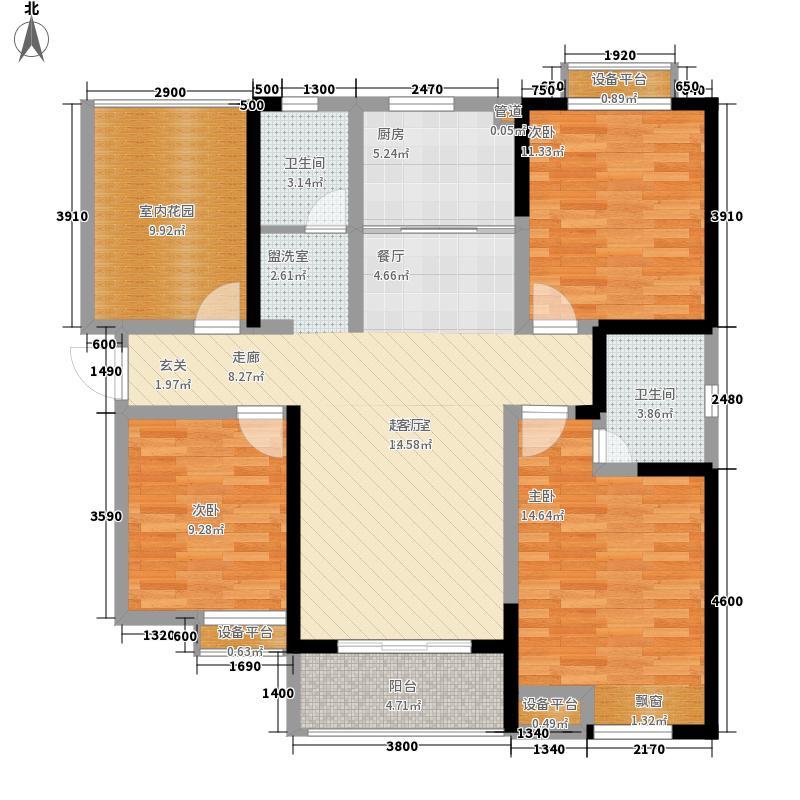 北辰天都户型图B3户型 3室2厅2卫1厨