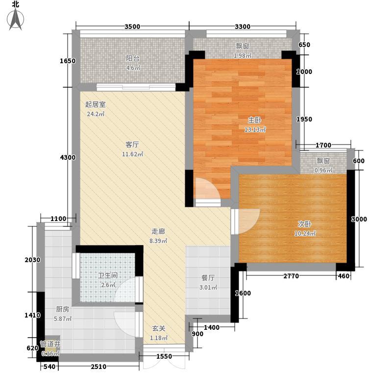 东方剑桥61.73㎡二期附2号楼标准层C户型