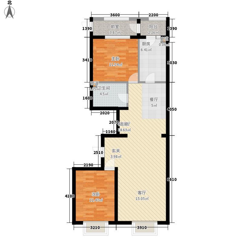 瀚城国际二期112.00㎡A-2户型2室2厅1卫1厨
