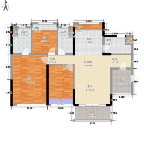 敏捷・金月湾3室0厅2卫1厨127.00㎡户型图
