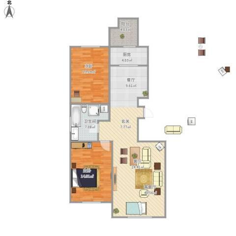 宝地・曼哈顿2室1厅1卫1厨112.00㎡户型图