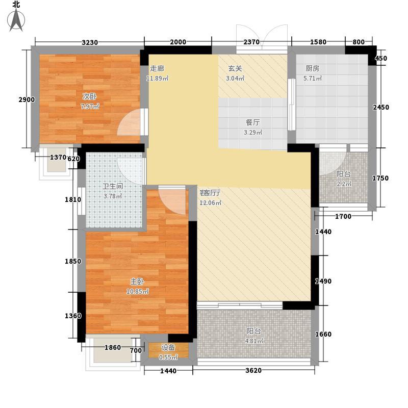 丽都锦城83.45㎡四期14号楼标准层H3/4号房户型