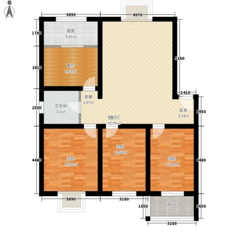 花间小镇3室2厅1卫1厨118.00㎡户型图