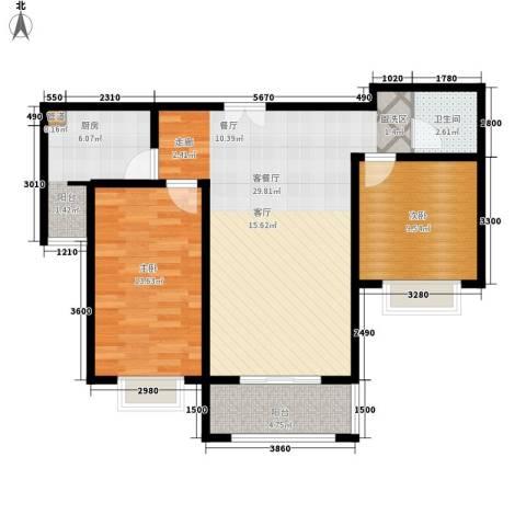 都市广场2室1厅1卫1厨94.00㎡户型图