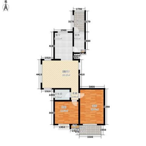 都市广场2室1厅1卫1厨119.00㎡户型图