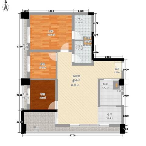 齐盛艺境3室0厅2卫1厨108.00㎡户型图