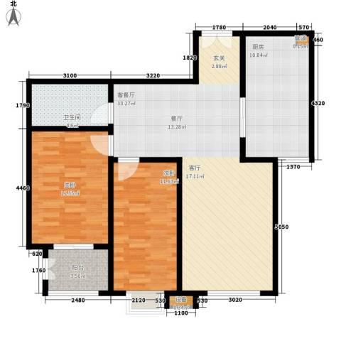 都市广场2室1厅1卫1厨107.00㎡户型图
