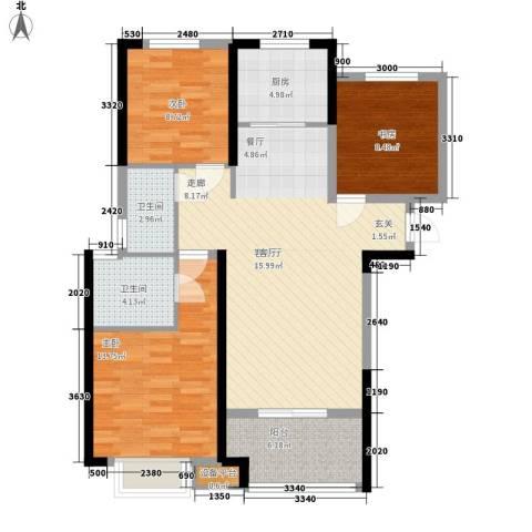 省石油公司宿舍3室1厅2卫1厨115.00㎡户型图