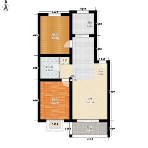 花间小镇2室1厅1卫1厨90.00㎡户型图