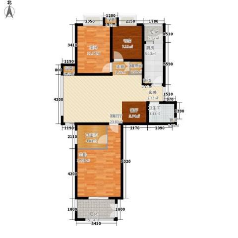 都市广场3室1厅2卫1厨124.00㎡户型图