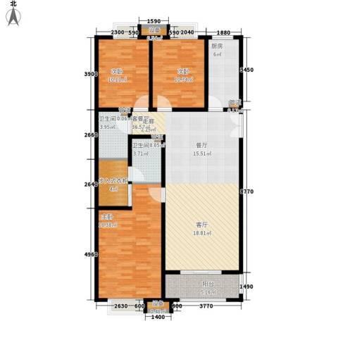 都市广场3室1厅2卫1厨139.00㎡户型图