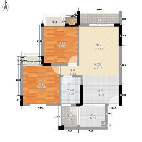 大翼龙苑2室0厅1卫1厨74.00㎡户型图