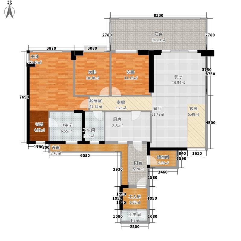 时代豪庭160.00㎡四期6号楼1号奇面积16000m户型