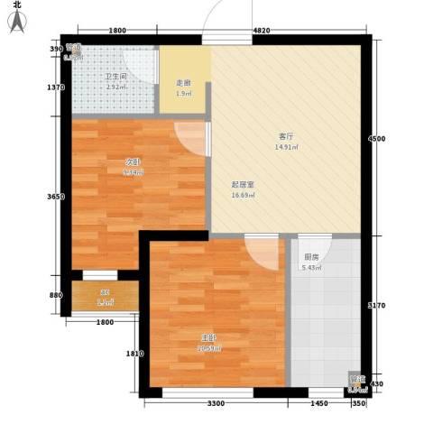 东方俪城2室0厅1卫1厨61.00㎡户型图