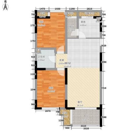 UP青年公社2室0厅1卫1厨101.00㎡户型图