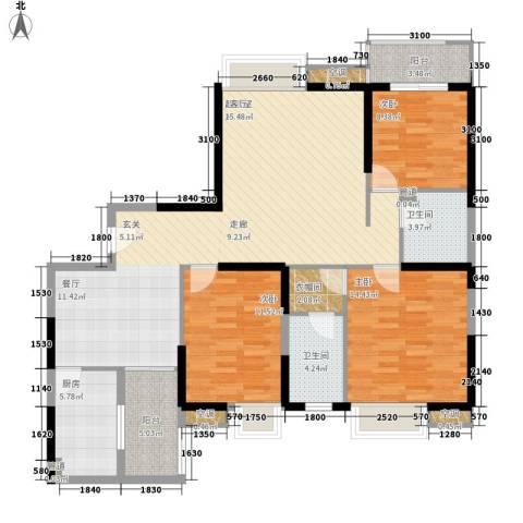 仙士小区3室0厅2卫1厨101.28㎡户型图