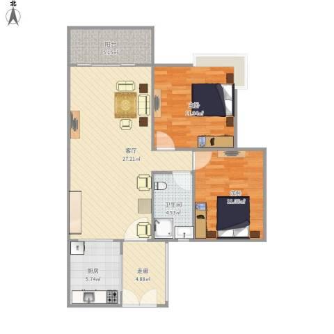 富力现代广场2室1厅1卫1厨78.00㎡户型图
