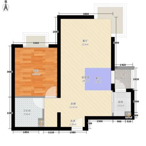 鹿港嘉苑1室0厅1卫1厨67.00㎡户型图