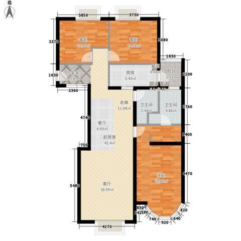 鹿港嘉苑3室0厅2卫1厨148.00㎡户型图