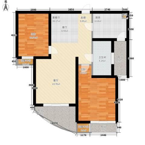 慧芝湖花园2室1厅1卫1厨90.00㎡户型图