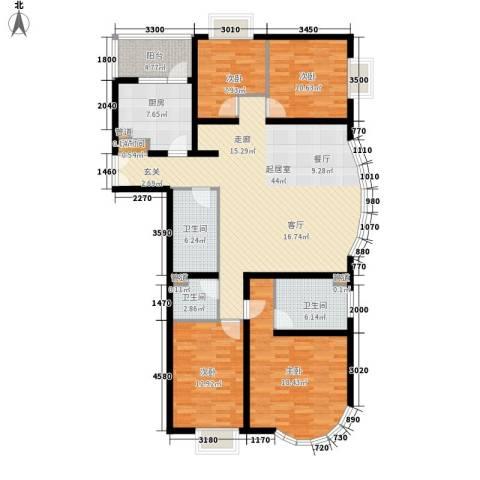 鹿港嘉苑4室0厅3卫1厨174.00㎡户型图
