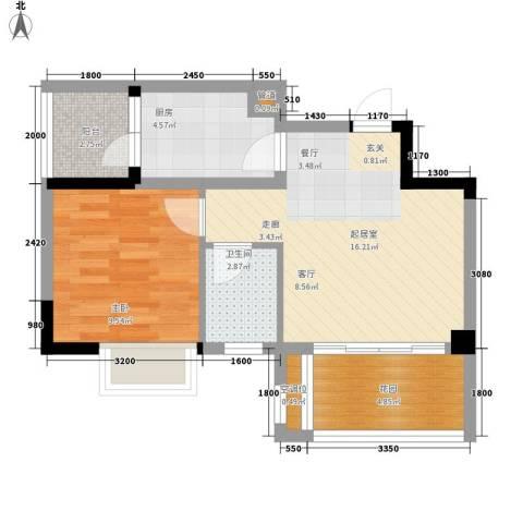 美丽南庭1室0厅1卫1厨49.00㎡户型图