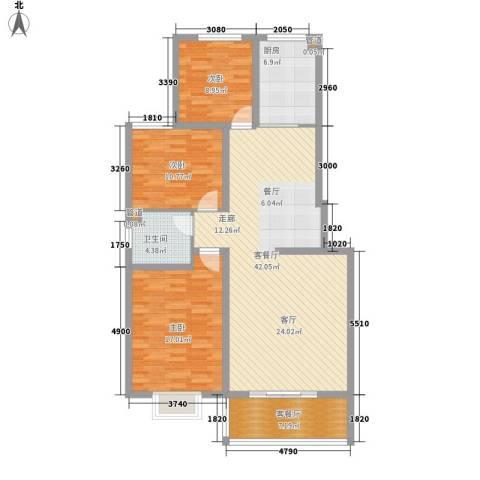 怡安嘉园二期3室2厅1卫1厨138.00㎡户型图