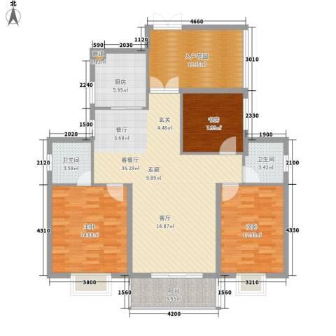 都市・心海岸3室1厅2卫1厨143.00㎡户型图