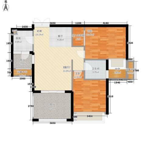 朱桦楼2室1厅1卫1厨107.00㎡户型图