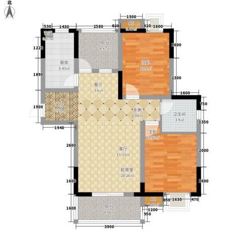 幸福大街2室0厅1卫1厨90.00㎡户型图