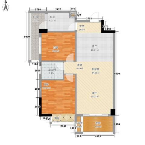 美丽南庭2室0厅1卫1厨89.00㎡户型图