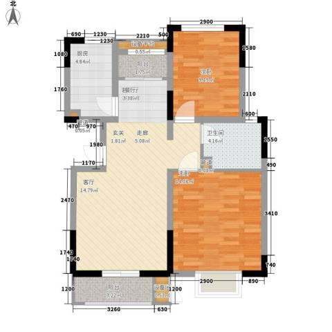 卓达三溪塘2室1厅1卫1厨63.50㎡户型图