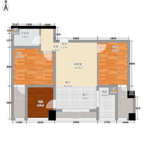 齐盛艺境3室0厅1卫1厨95.00㎡户型图
