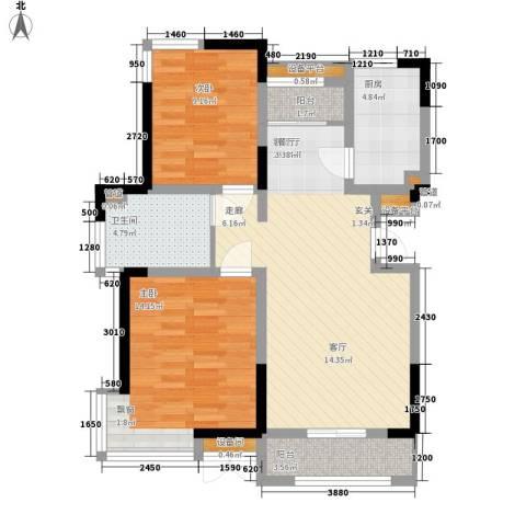 卓达三溪塘2室1厅1卫1厨64.92㎡户型图