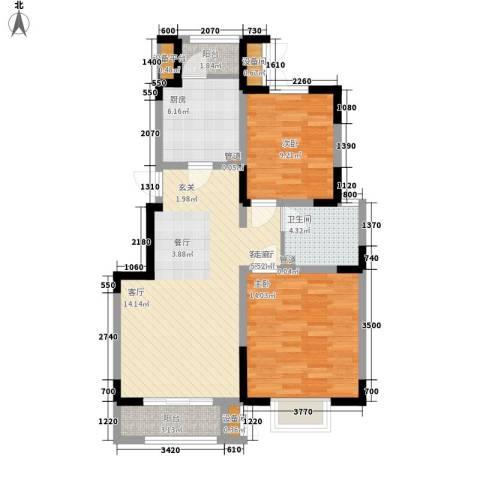 卓达三溪塘2室1厅1卫1厨65.81㎡户型图