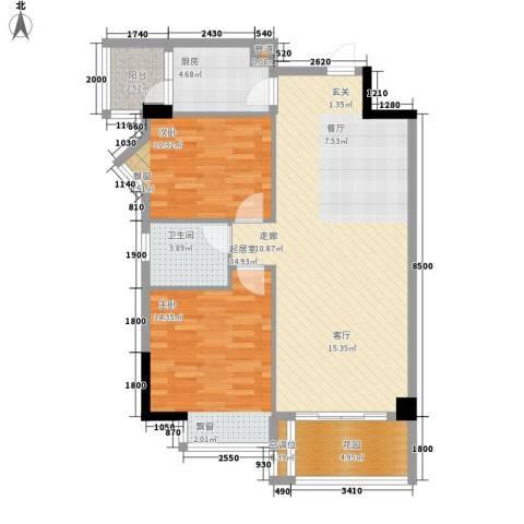 美丽南庭2室0厅1卫1厨87.00㎡户型图